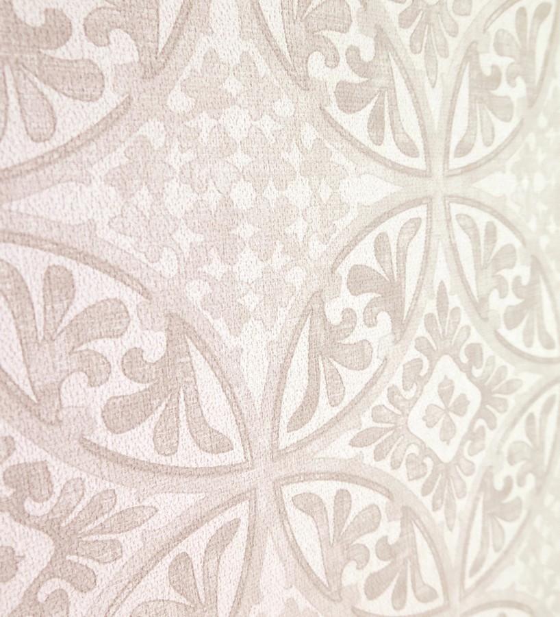 Papel pintado azulejos barrocos árabes beige claro fondo blanco Talid 421522