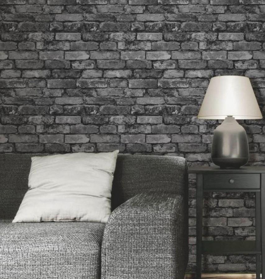 Papel pintado muro de ladrillos rústico gris Overton 421570