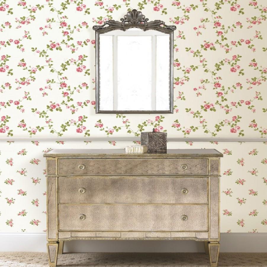 Papel pintado flores liberty country vintage coral rosado fondo marfil claro Matilde 421574