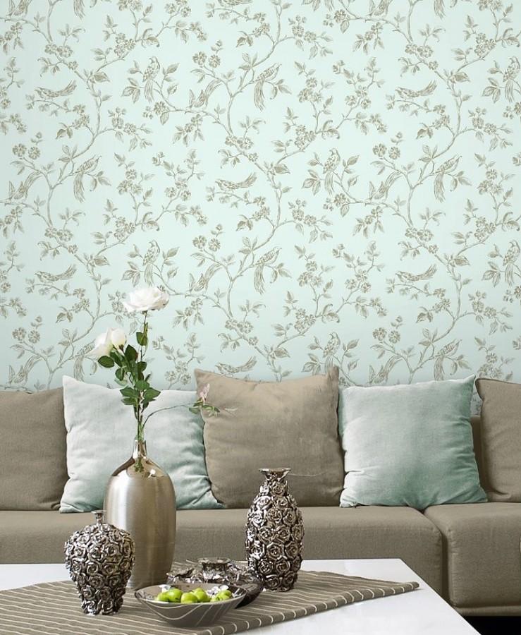 Papel pintado flores y pájaros vintage perla metalizado fondo gris claro Idalia 421578