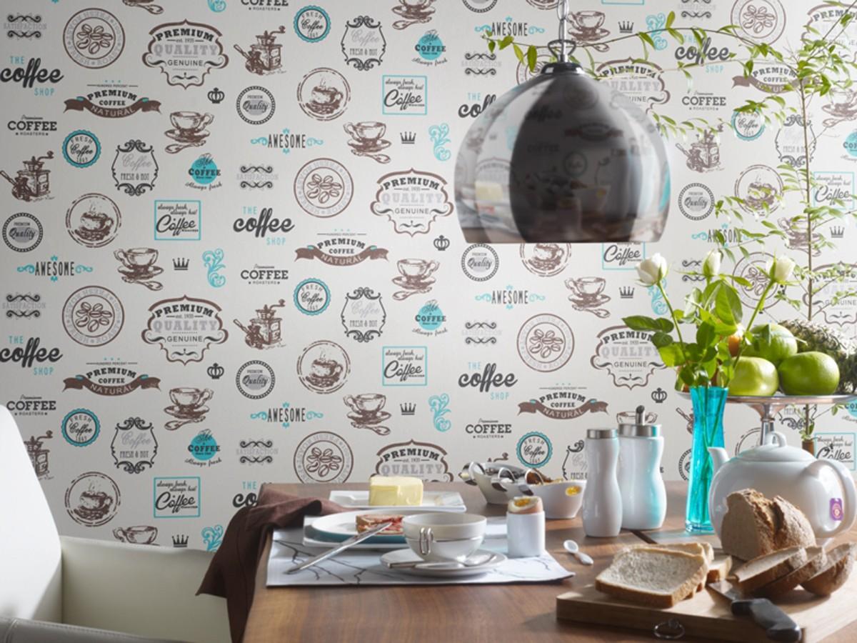 Papel pintado vintage con letreros y tazas de café marrón oscuro fondo blanco Always Coffee 421615