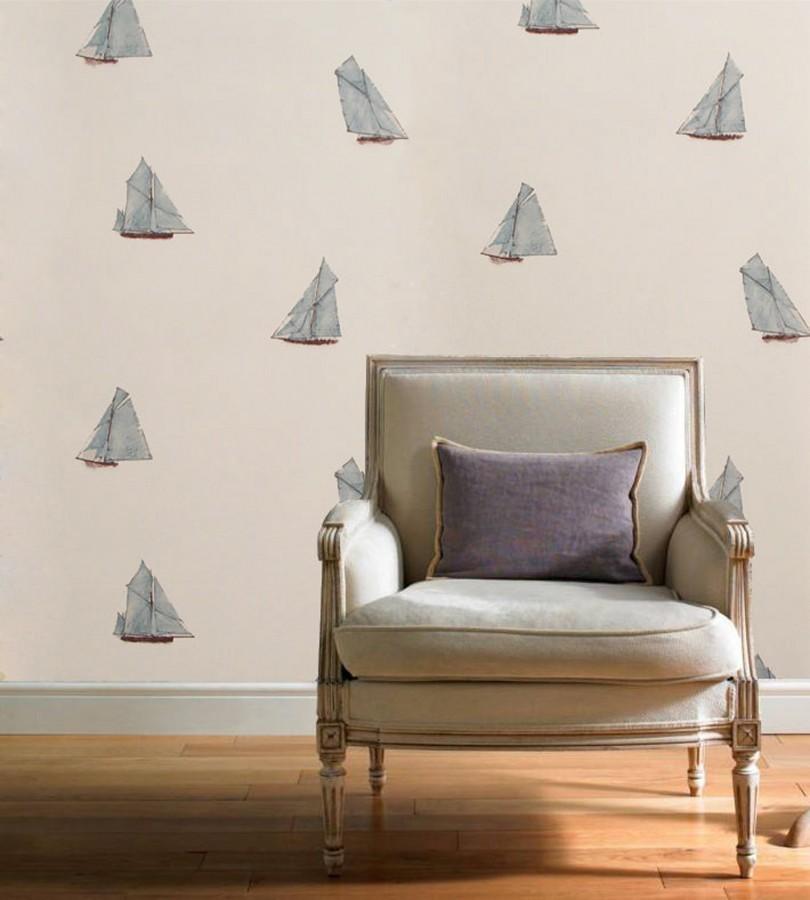Papel pintado de barcos de vela tipo goleta celeste aguamarina fondo blanco Myrtos Nautic 421514