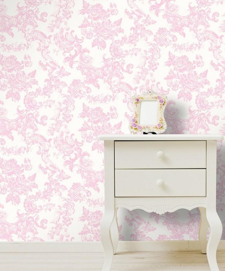 Papel pintado de flores y elementos ornamentales isadora 421562 - Papel pintado rosa ...
