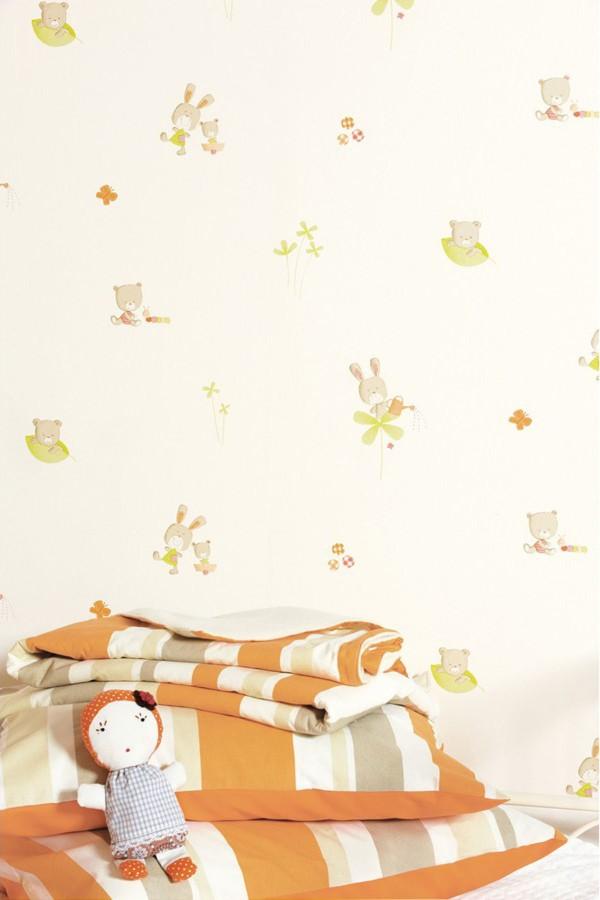 Papel pintado infantil de ositos y conejos felices verde manzana fondo blanco Happy Bears 421550
