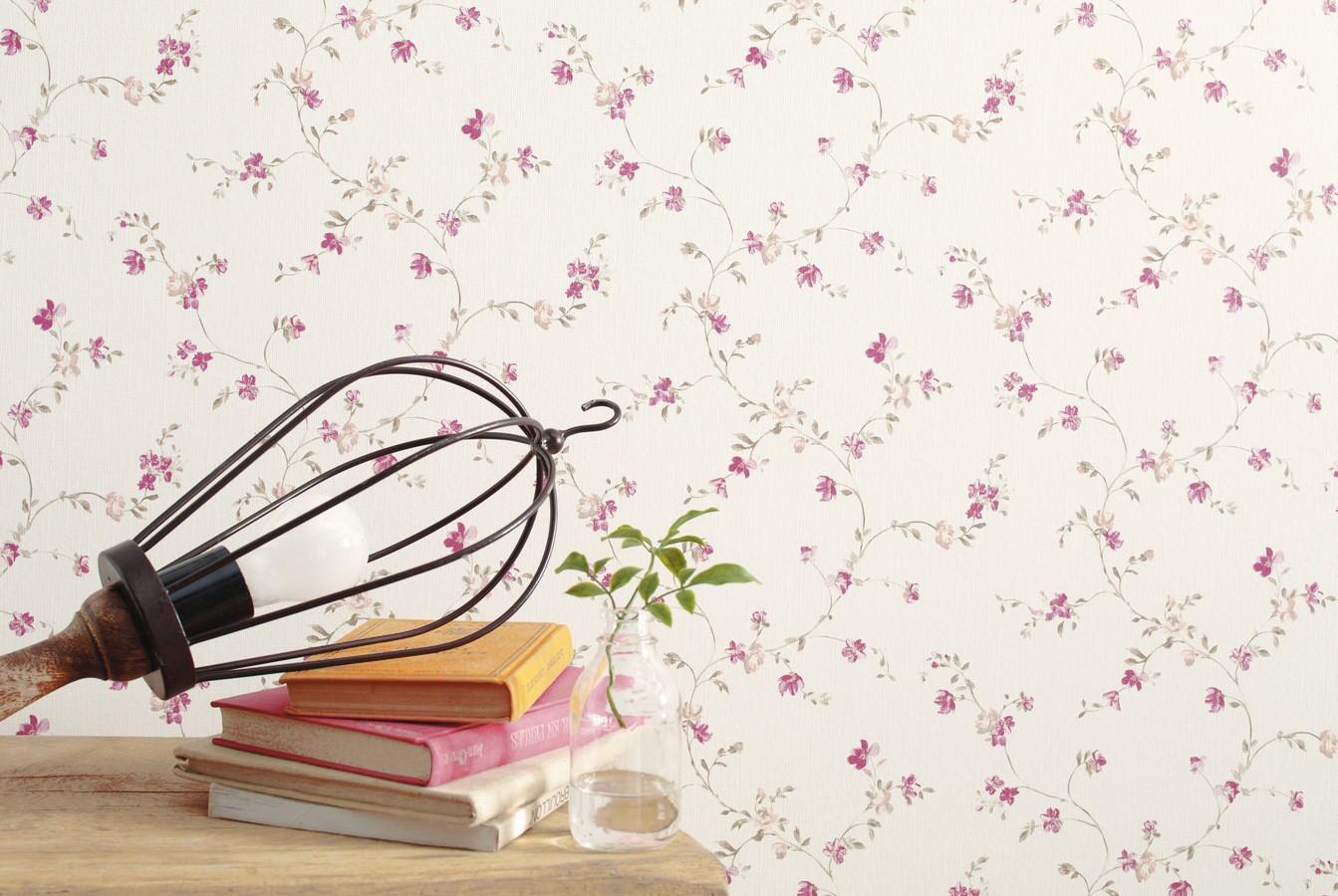 Papel pintado flores pequeñas liberty country magenta fondo blanco Rosana 421554