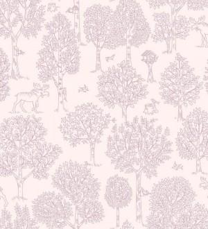 Papel pintado árboles bosque nórdico fondo rosa Nordic Park 120786