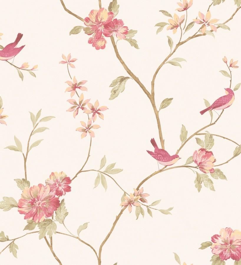 Papel pintado pájaros y flores estilo romántico Villa Elena 121364