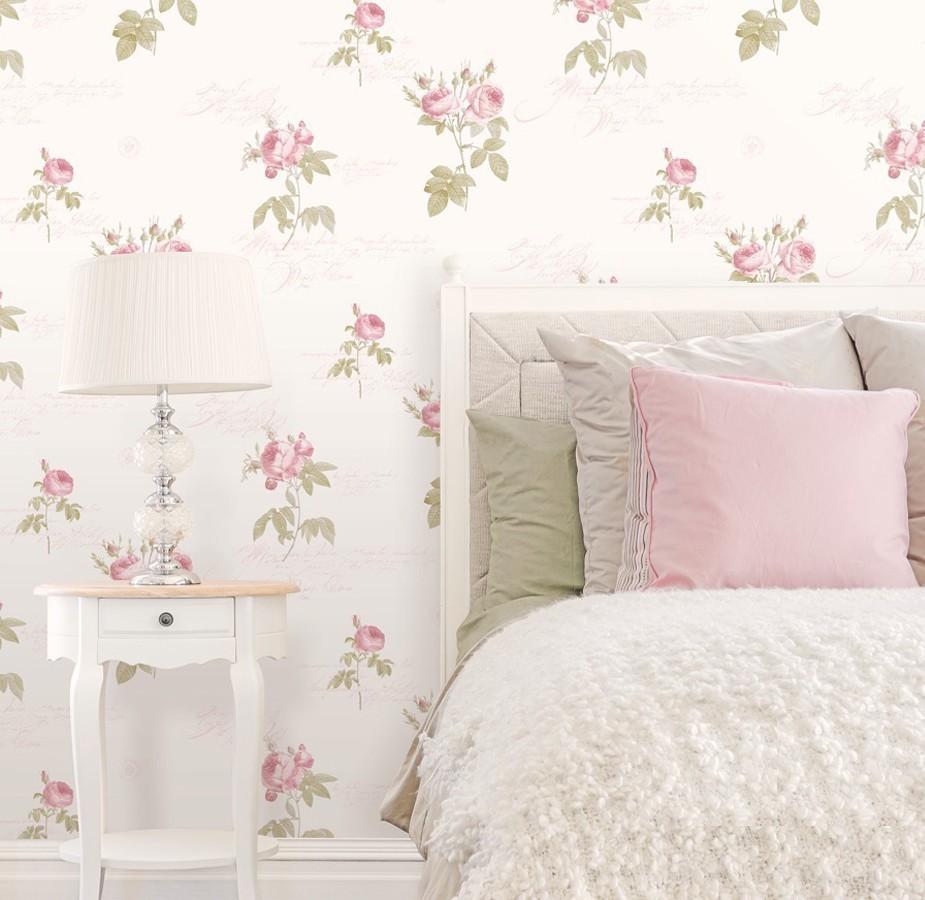 Papel pintado flores y letras estilo vintage Belle Fleur 121368