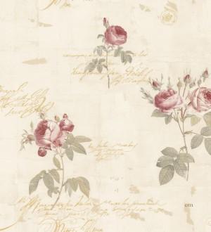 Papel pintado flores y letras estilo vintage Belle Fleur 121371