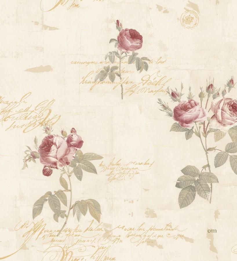 Papel pintado flores y letras estilo vintage belle fleur 121371 - Papel pintado estilo vintage ...