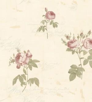 Papel pintado flores y letras estilo vintage Belle Fleur 121372