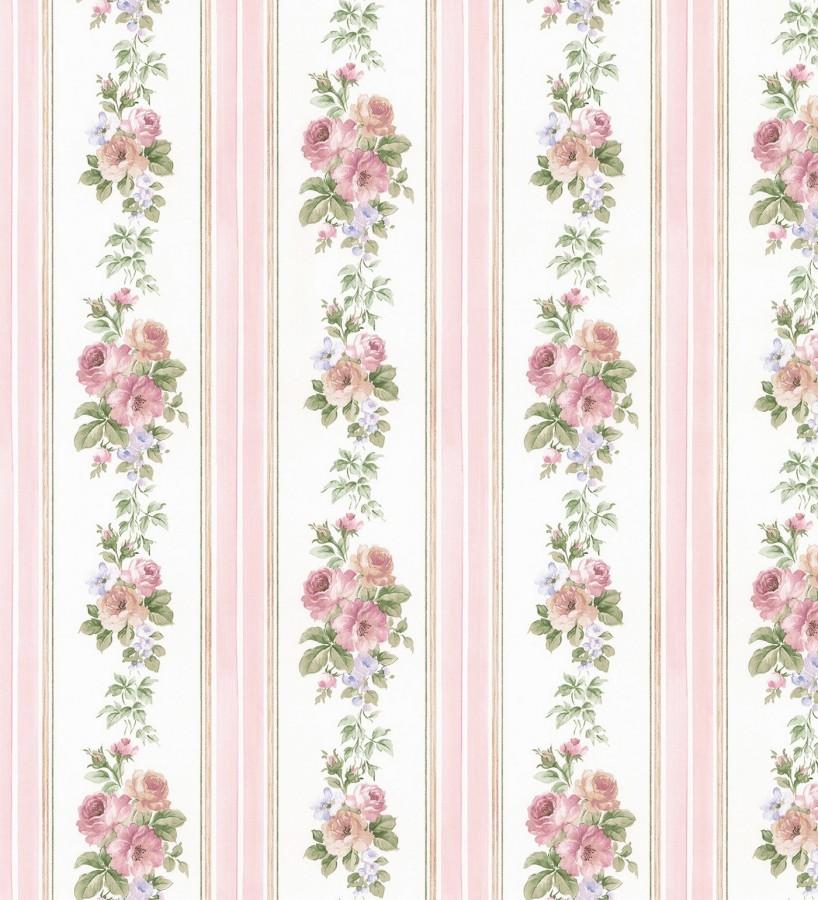 Papel pintado rayas y flores románticas vintage Jardin de Lise 121377