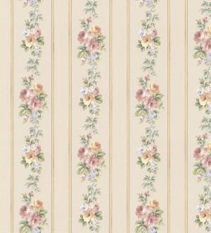Papel pintado rayas y flores románticas vintage Jardin de Lise 121378