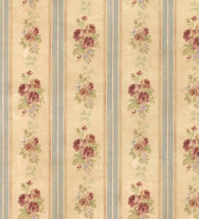 Papel pintado rayas y flores románticas vintage Jardin de Lise 121381