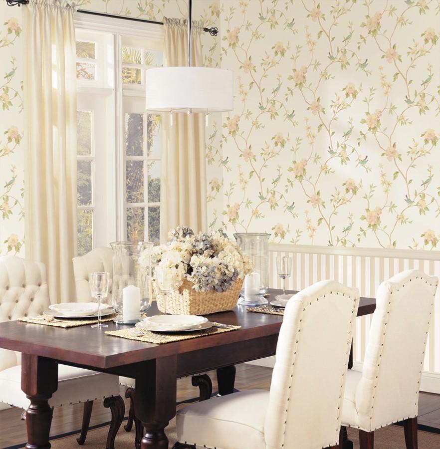 Papel pintado pájaros y flores estilo romántico Villa Elena 121382