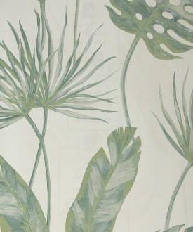Papel pintado de hojas artísticas tropicales verde Paracuru 121452