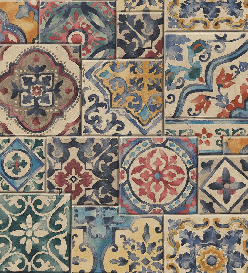 Papel pintado azulejos sevillanos estilo arabesco Provenza 121268
