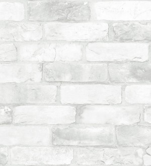 Papel pintado muro de ladrillos vintage blanco Jackson Street 121284
