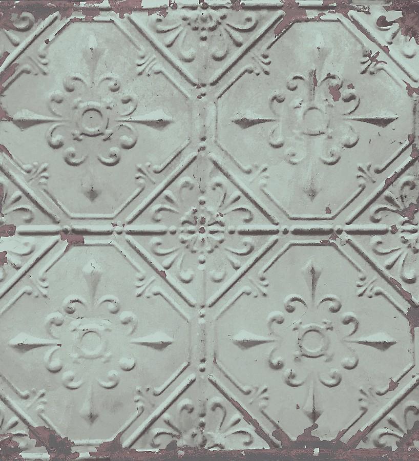 Papel pintado azulejos vintage verde palido estilo barroco Zagora 121290