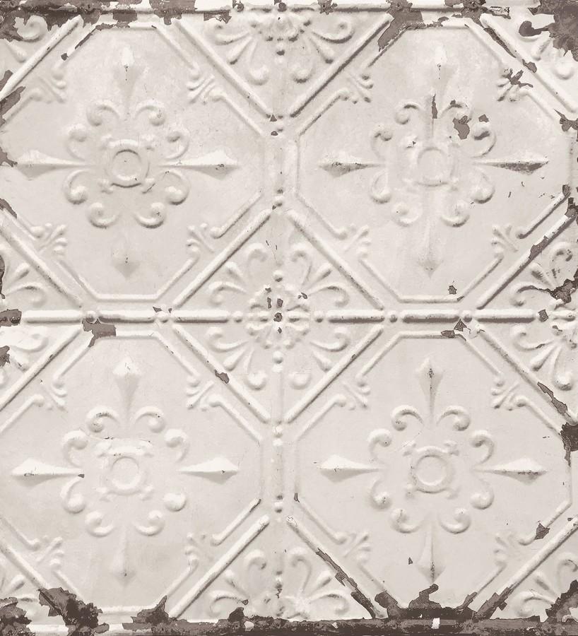 Papel pintado azulejos vintage beige estilo barroco Zagora 121291