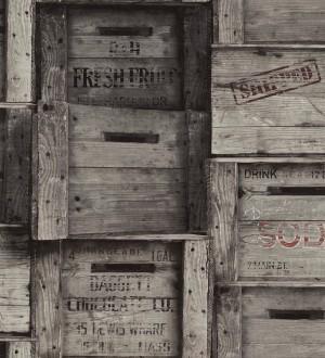 Papel pintado cajas de madera estilo vintage Market Boxes 121306