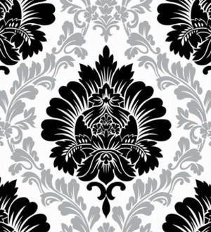 Papel pintado damasco negro con detalles planta fondo blanco Robin Classic 123144
