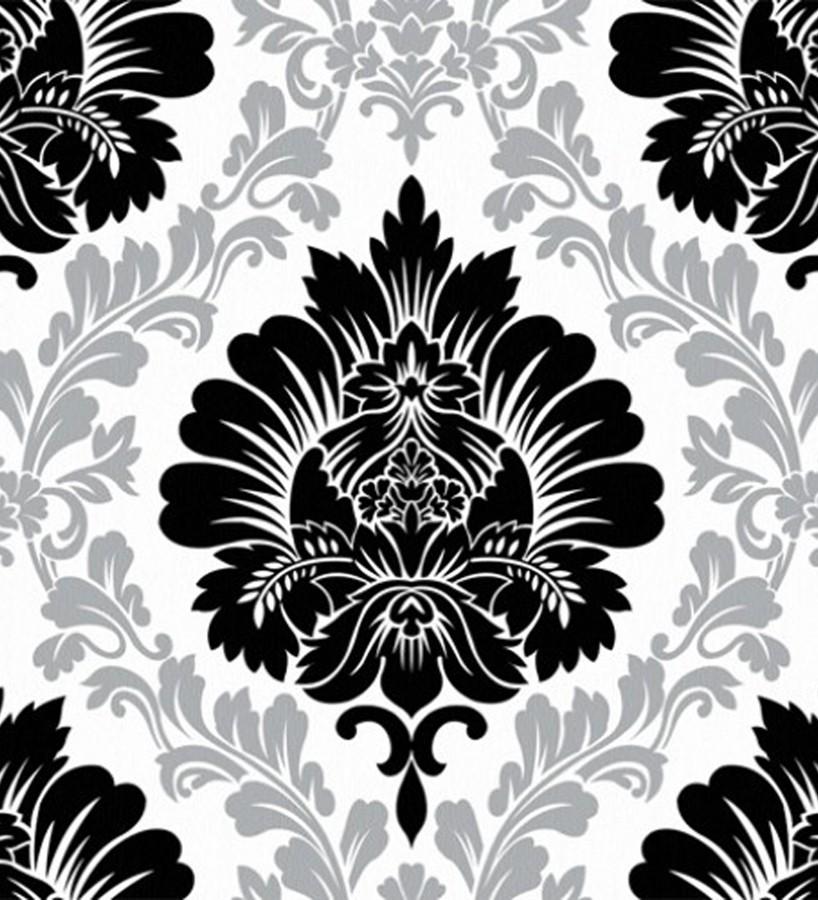 Papel pintado damasco negro con detalles planta fondo - Papel pintado negro ...