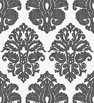 Papel pintado damasco negro fondo blanco roto Angelo Valdini 123146