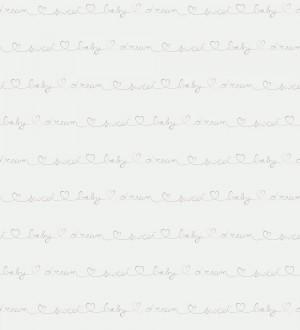 Papel pintado letras manuscritas con corazones gris Briana 232142