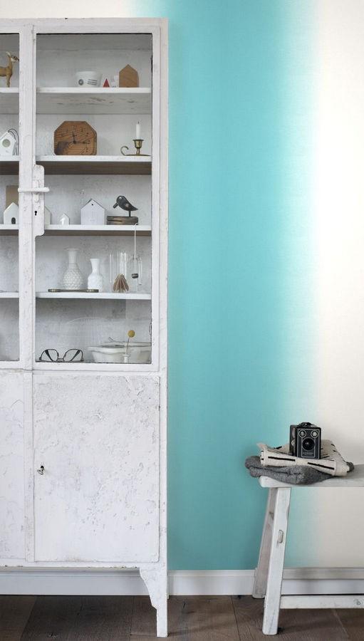 Papel pintado rayas anchas difuminadas tonos turquesa Astrid Colours 676892