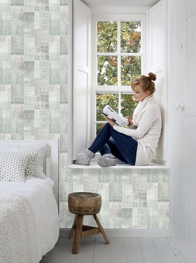 Papel pintado mosaico textil estilo boho Boho Mosaic 676897
