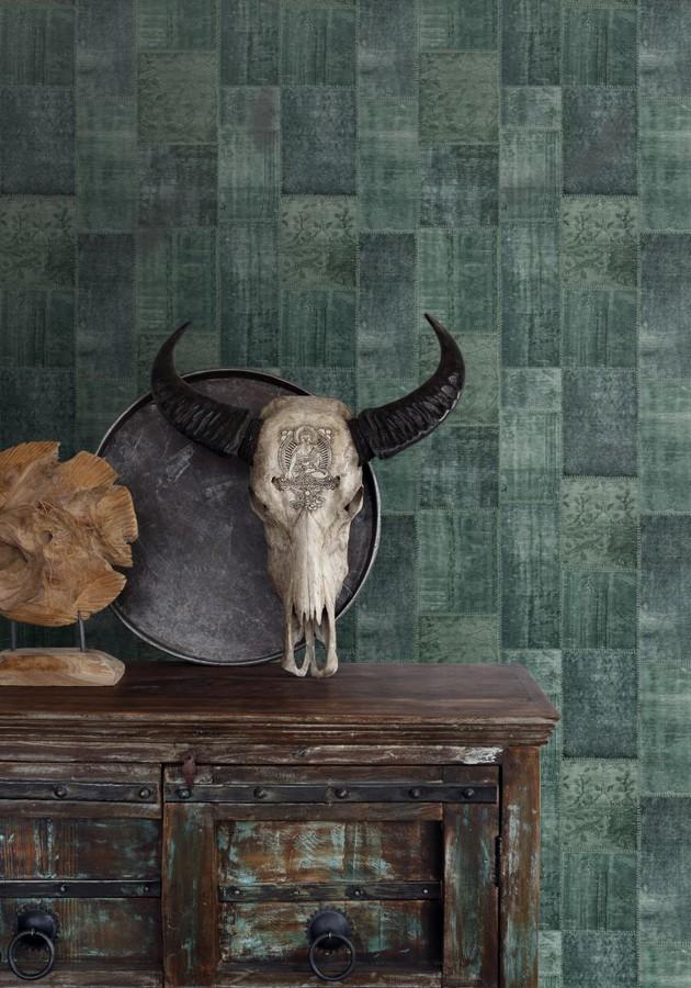 Papel pintado mosaico textil estilo boho Boho Mosaic 676899