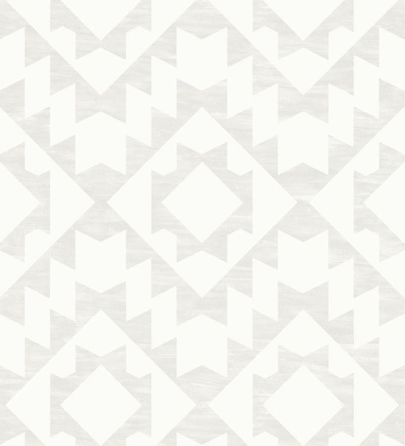Papel pintado geométrico nórdico gris claro y blanco Nordem Kingdom 676920