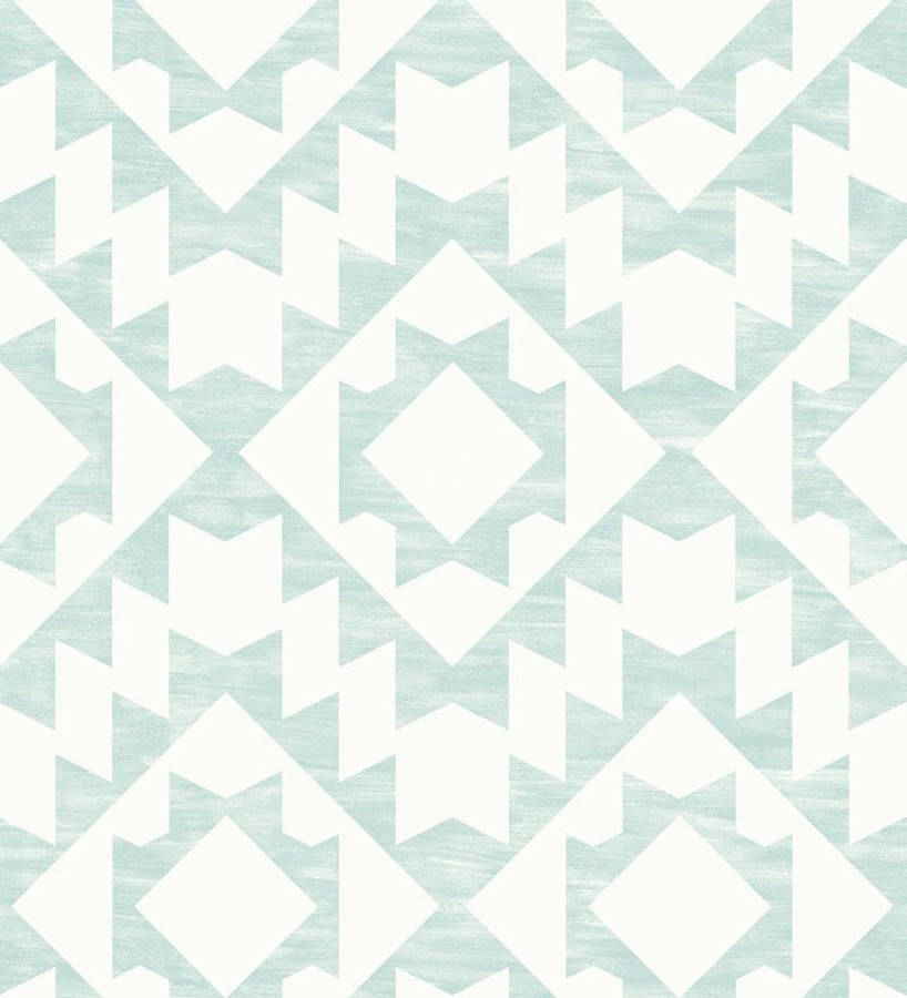 Papel pintado geométrico nórdico turquesa claro y blanco Nordem Kingdom 676921