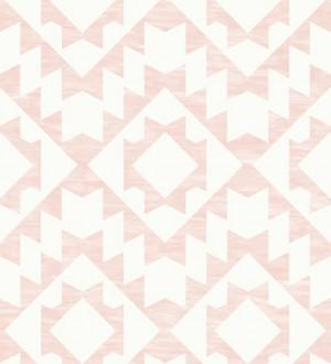 Papel pintado geométrico nórdico rosa y blanco Nordem Kingdom 676922