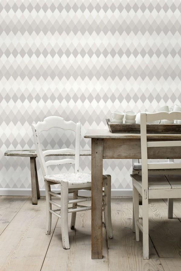 Papel pintado rombos tonos grises estilo nórdico North Tandem 676925