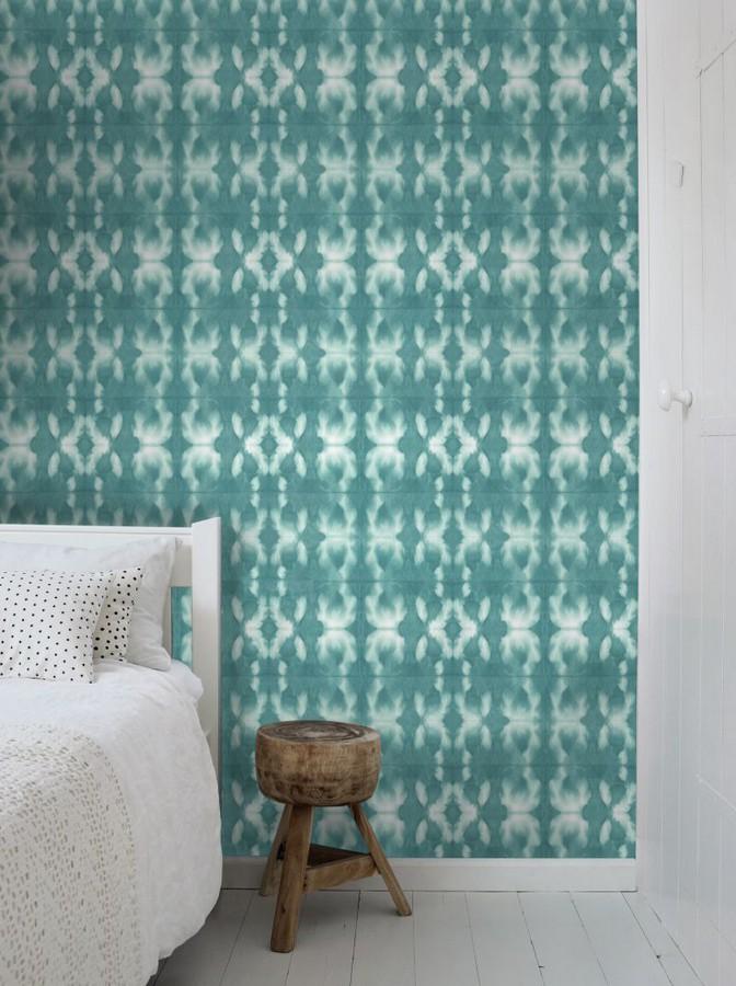 Papel pintado cadenetas difuminadas verde turquesa estilo nórdico Astrid Nordic 676930