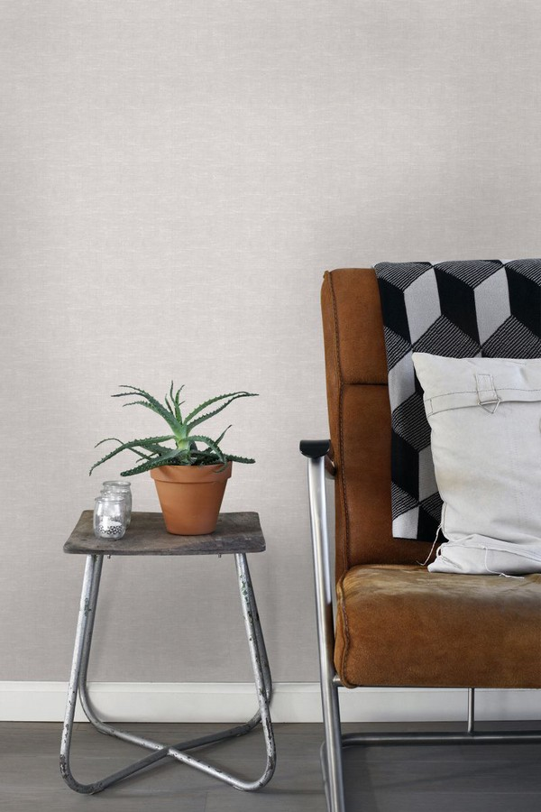 Papel pintado liso imitación textil Boho Fabric 676942