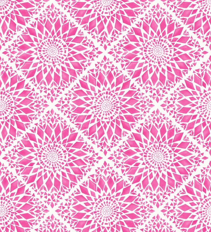 Papel pintado mosaico de azulejos modernos rosa y blanco Ibizan Metrix 676967