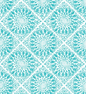Papel pintado mosaico de azulejos modernos celeste turquesa y blanco Ibizan Metrix 676968