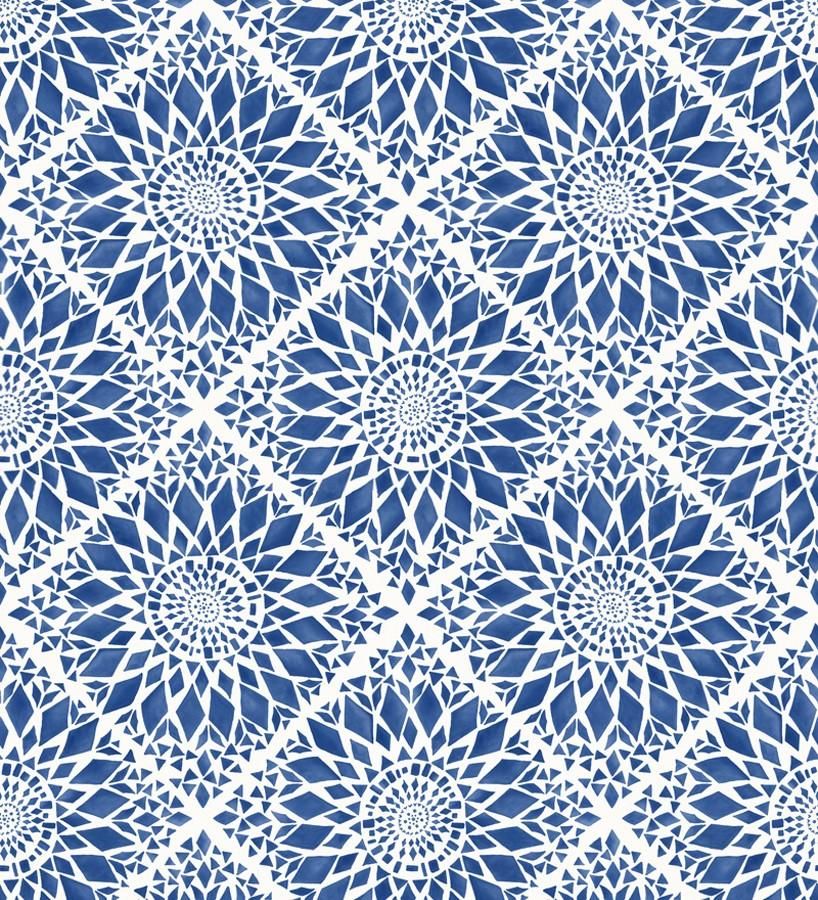 Papel pintado mosaico de azulejos modernos azul y blanco Ibizan Metrix 676969