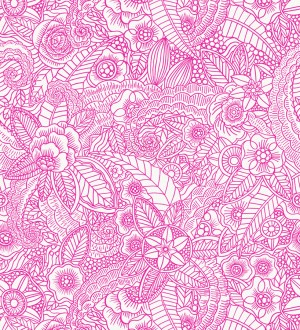 Papel pintado mandalas rosa y blanco estilo ibicenco Ibizan Flowers 676971
