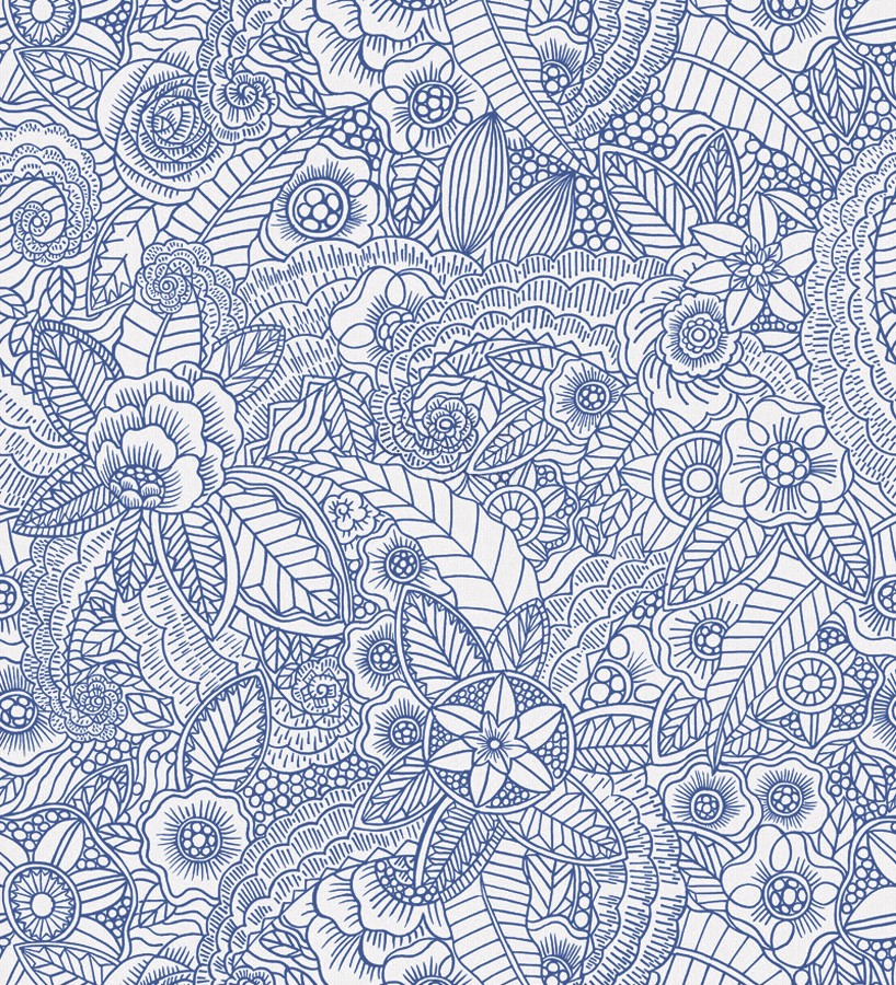 Papel pintado mandalas azul y blanco estilo nórdico Ibizan Flowers 676972