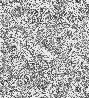 Papel pintado mandalas blanco y negro estilo ibicenco Ibizan Flowers 676973