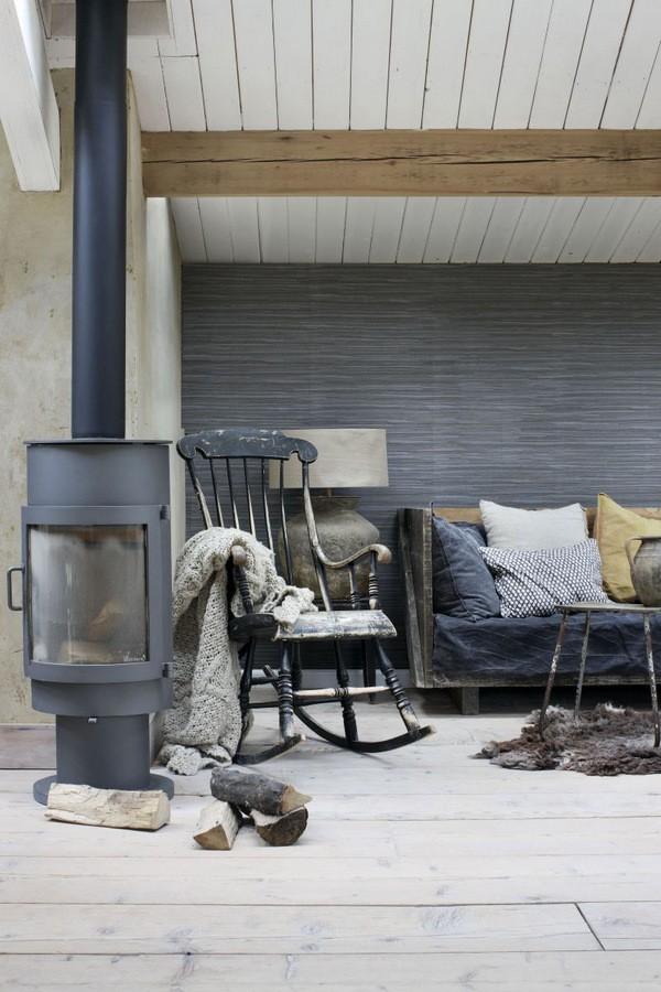Papel pintado trama textil tonos oscuros Ibizan Stripes 676976