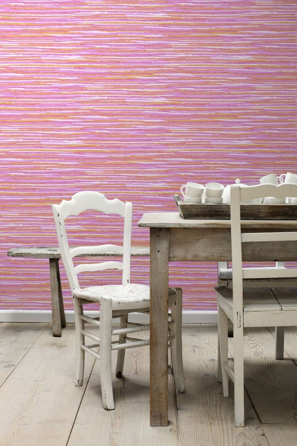 Papel pintado trama textil tonos rosa Ibizan Stripes 676977