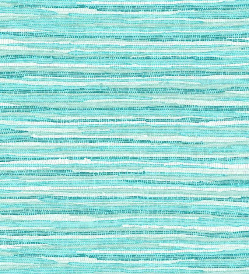 Papel pintado trama textil tonos turquesas y celestes Ibizan Stripes 676978