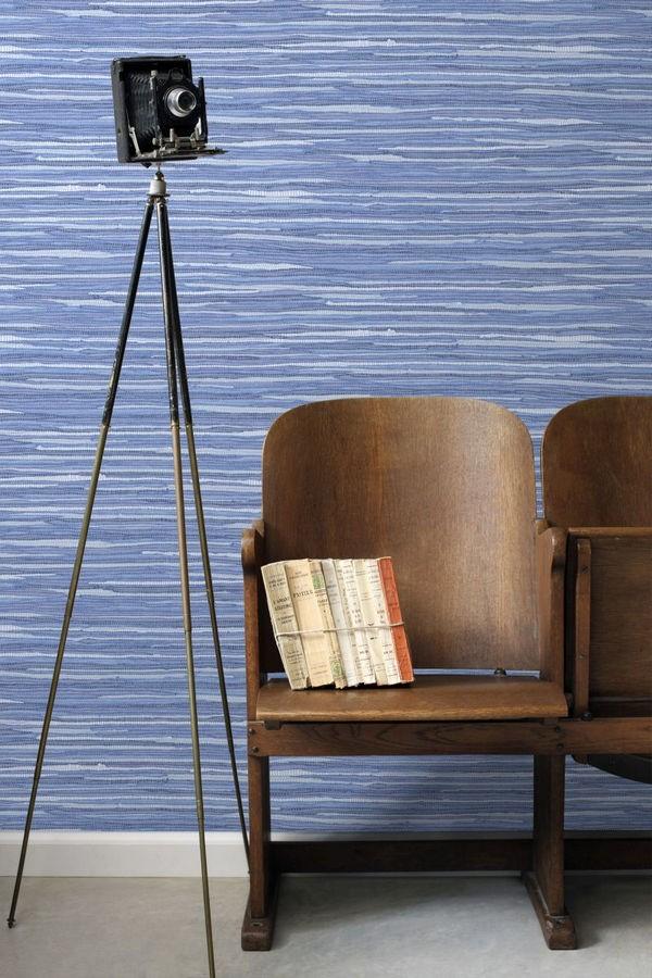 Papel pintado trama textiles tonos azules Ibizan Stripes 676979