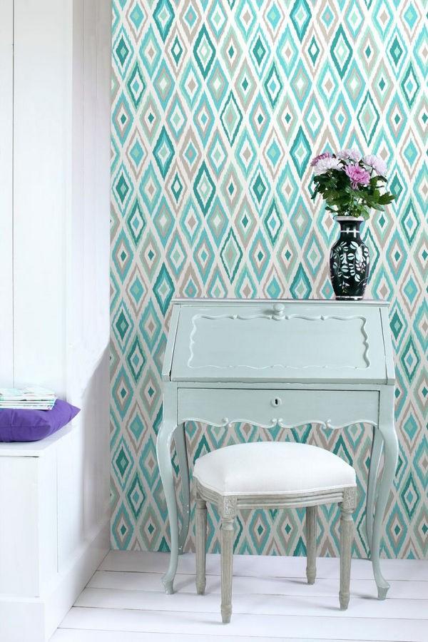 Papel pintado rombos modernos tonos azules y turquesas estilo nórdico Scandinavian Folk 676986