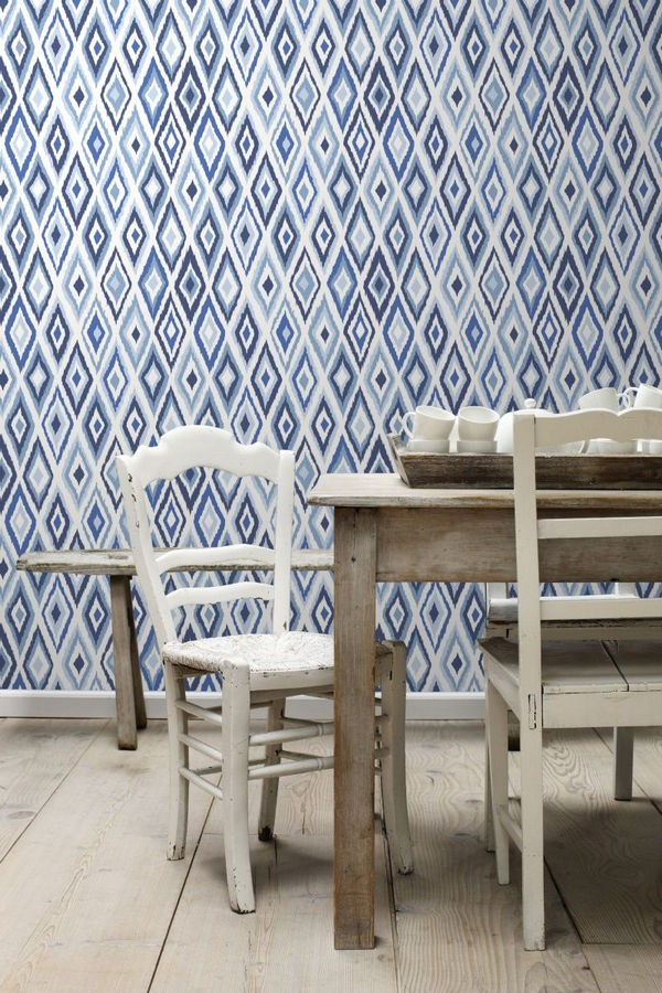 Papel pintado rombos modernos tonos azules estilo nórdico Scandinavian Folk 676991